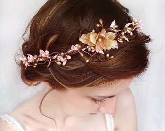 bridal headpiece, flower crown headband, pink gold headband, gold hair accessory, wedding hair piece, bridal hair vine, bridal hair piece