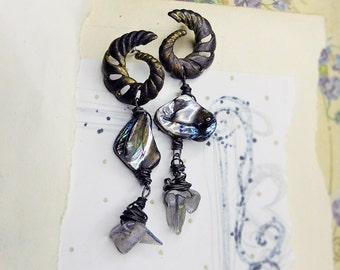 25 DOLLAR SALE || Beaded Earrings - Iridescent Shell - Labradorite Spear Chips - Steel Wire Wrapping - Inner Sea Golden Ratio Earrings