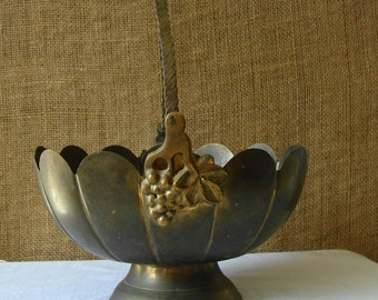 VINTAGE BRASS BOWL Brass Fruit Bowl Basket Swinging Handles Serving Home Decor Mid Mod Brass Made In India Cast Brass