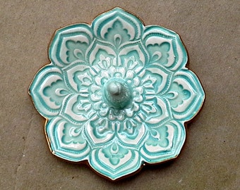 Ceramic Aqua Lotus Ring Holder Bowl gold edged 3 1/4 inches  round