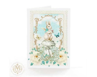 Rabbit card, woodland, Easter bunny, all ocassion