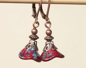 Dark Red Earrings Czech Earrings Dangle earrings Drop Earrings Flower Earrings Copper Earrings Boho Chic Earrings Birthday Gift For women