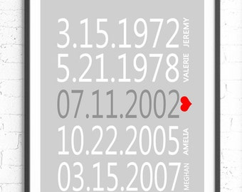 Personalized Important Dates, Custom Subway Wall Art, Anniversary Gift, Gray White, Custom Gift, Personalized Family Gift, Special Dates