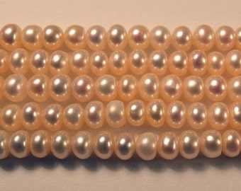 "Cream Rondell Fresh Water Pearl Beads 5.85mm x 4.25mm 16"" Strand"