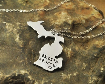 Michigan  necklace Latitude Longitude Necklace Coordinate  925 sterling silver  necklace state necklace  valentine necklace Gift for wife