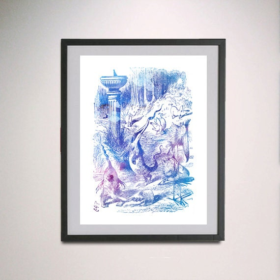Alice In Wonderland Water: Alice In Wonderland Book Animals Water Colour By