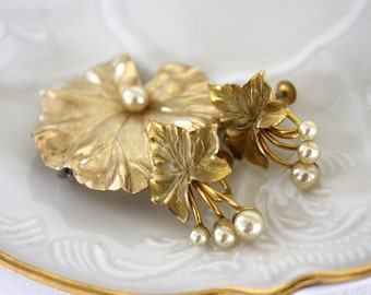Vintage Brooch and Earrings, Gold Filled, Pearl Accents, Taylord Brooch Pin