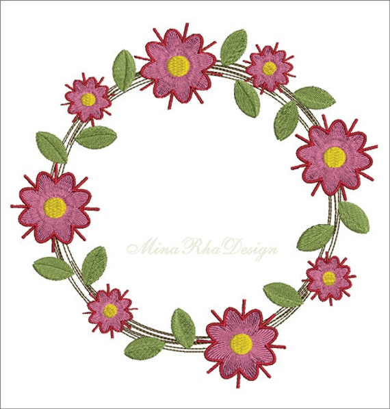 Flower wreath machine embroidery design instant download