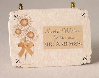 Mason Jar and Lace set of 36 Wedding Advice Cards