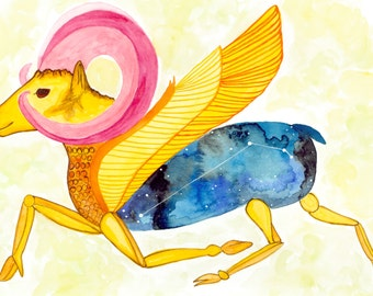 Aries---> Watercolor Art, Archival Print, Fire Sign, Bull, Ram, Zodiac, Constellation, Astrology, Mesopotamia, Assyrian, Celestial, Stars