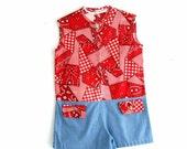 girls romper . vintage bandana print jumper . 1970s romper for girls . drop waist jumper . girls vintage playsuit
