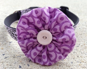 Purple Dots with White Button Ruffle Dog Collar Flower