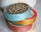 4 x reels Rayon Ribbon French 1940s Vintage trim supplies
