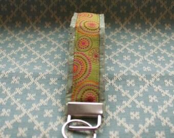 Green Funky Ribbon Key Chain, Wristloop Keychain, Wristlet Key Chain