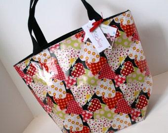 Strawberry Fabric Reusable Lunch Bag, Lunch Sack, Reusable Bag