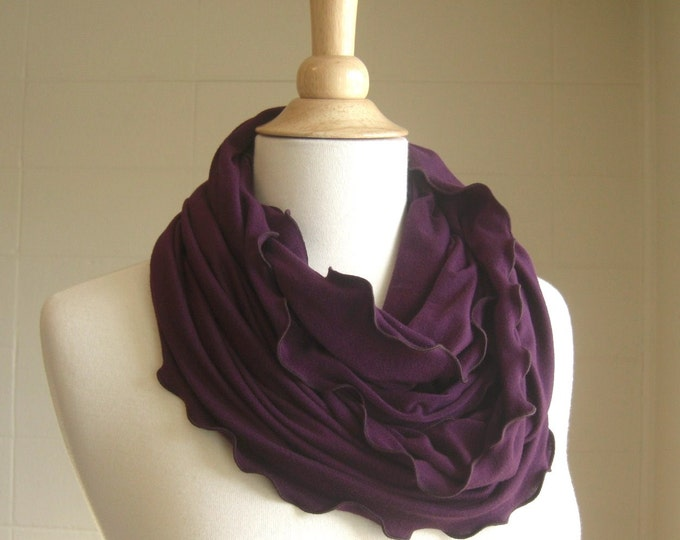 Plum Purple Infinity Scarf jersey circle cowl ruffle scarf holiday gift for her loop scarf winter accessory stocking stuffer - ready to ship