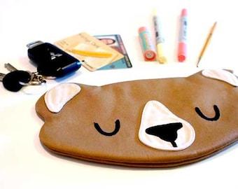 Bear Pencil Pouch, Bear Fabric Zip Pouch, BEAR pouch, Bear purse, Bear bag, Pen pouch, Stationery pouch, Back To School, Beige Bear pouch
