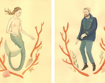Mermaid & Sailor Print Set
