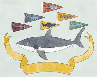 Shark Pennants print