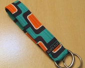 wristlet key fob - michael miller mod geometric teal & orange