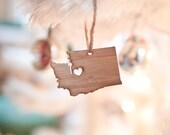 i heart Washington State Ornament - Bamboo - Washington Outline Ornament Wooden State Cutout State Love Gift