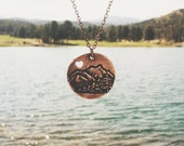 Mountain Love - Copper - Mountain Necklace - I Love Mountains Necklace - Mountain Pendant - Mountain Charm