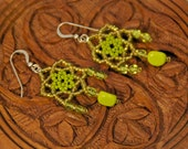 Salt and Lime - Citron Green Beaded Lace Earrings