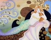 B. K. Lusk Oil Painting Mermaid Vixen Sea Siren Art Nouveau Seashell Pink Red Hair