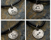 Virgo Libra Scorpio Sagittarius - Hammered Sterling Zodiac Pendant on Black Leather Necklace