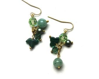 Pearl, Swarovski crystal, jade and aventurine ivy leaf earrings