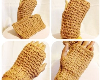 Honeycomb Fingerless Mittens Crochet Pattern