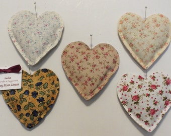 Vintage Style Heart Sachets in Lavender & Peppermint