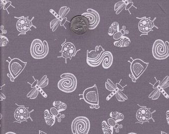 Half yard - Gray Garden Friends - Wee Gallery - Dear Stella cotton quilt fabric