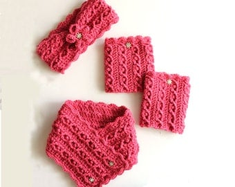 She's A Gem Crochet Pattern Set - Neck Warmer, Headband And Boot Cuffs