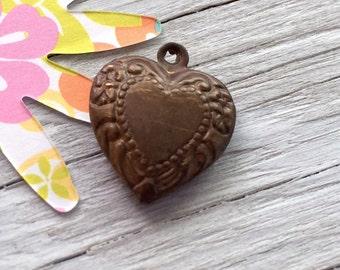 Vintaj natural brass heart charm double sided