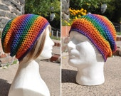 Slouchy Crocheted Beanie Hat - Bright Rainbow Multicolored Skullcap - Unisex Hat - Rainbow Hat - Slouch Hat