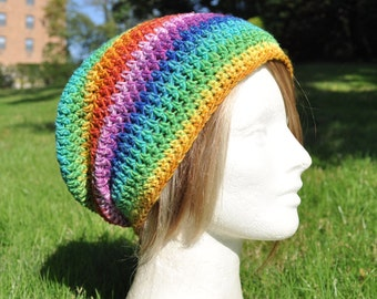 Slouchy Crochet Beanie Hat - Rainbow Multicolored Skullcap - Unisex Hat