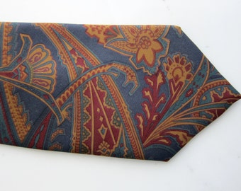 70s Lilly Dache Silk Tie Vintage - Paisley - Egyptian Papyrus Motif - Mens Silk Necktie - Designer Vintage Fashion Accessory