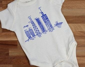 Chicago baby gift, gender neutral baby gift, Chicago skyline baby bodysuit, Chicago architecture baby gifts