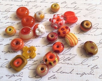 Bead Box Sale Lampwork Beads in Oranges