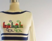 Vintage Embroidered Neighborhood Sweater, lightweight, - OdettesVintage