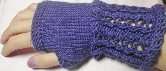 Purple hand knit lacy fingerless gauntlet gloves