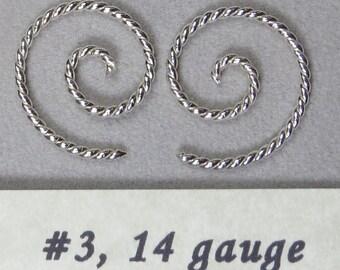 Sterling silver, 14 gauge, Spiral , twisted wire earrings, #3