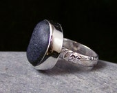 Genuine RARE Chunky Black Sea Glass Ring Bezel Set in Sterling Silver Size 6.5