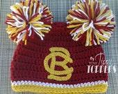 Crocheted  BOSTON COLLEGE EAGLES Hat Cap beanie baby boy girl ears or pom poms