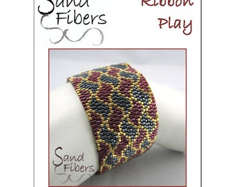 Peyote Pattern - Ribbon Play Peyote Cuff / Bracelet  - A Sand Fibers For Personal/Commercial Use PDF Pattern