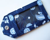 Fabric Luggage Tag - Blue and white Vacation Bag ID Tag, unique id tag for your bag