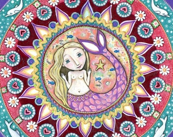 Mermaid mandala art whimsical folk dolphin seal wall decor women mixed media paper patchwork painting art for kids gift for girl friend