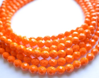 The Rebecca- Opaque Orange Czech Glass Chunky Necklace