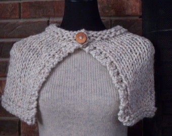 Oatmeal Handknit Capelet Wrap Shawl with Reclaimed Wood Button